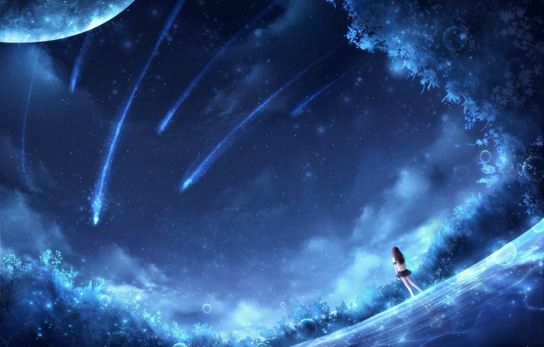 Фото обои девушка, космос, фантастика, CZY, падающие зведы
