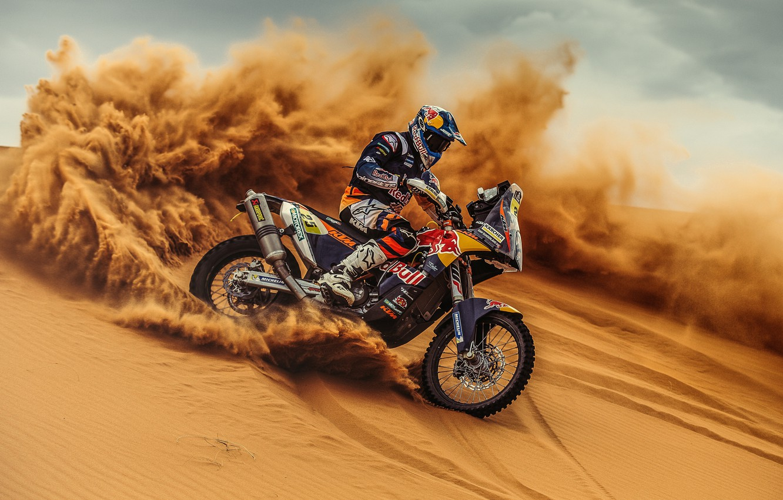 Фото обои Песок, Спорт, Занос, Мотоцикл, Гонщик, Мото, KTM, Bike, Rally, Dakar, Дакар, Ралли, Moto, Motorbike, Дюна