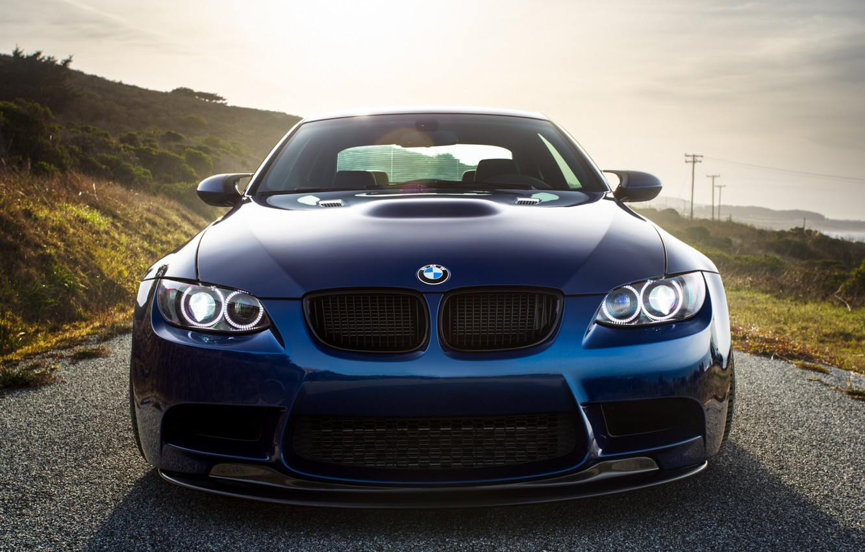 Фото обои BMW, Classic, Blue, Green, Front, Sun, E92