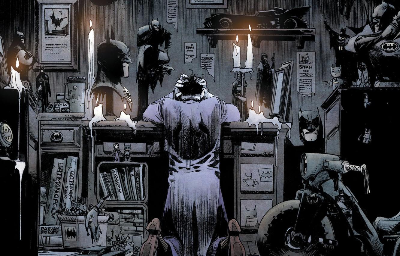 Фото обои fantasy, Batman, Joker, comics, bad, artwork, candles, mask, superhero, fantasy art, books, DC Comics, hood, …
