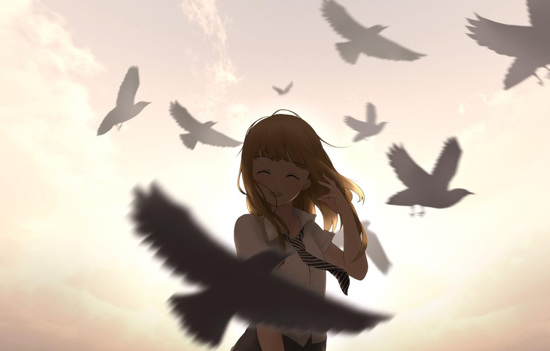 Фото обои небо, девушка, облака, закат, птицы, улыбка, аниме, арт, форма, школьница, ying yue