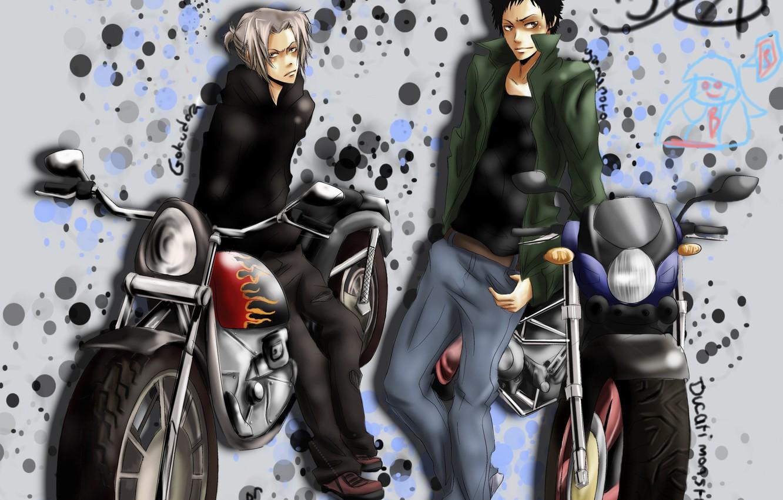 Фото обои мотоциклы, аниме, парни, Katekyo Hitman REBORN!, Gokudera Hayato, Yamamoto Takeshi