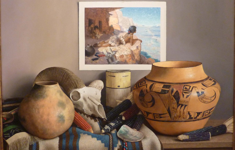 Фото обои картина, кукуруза, ваза, Still life, William Acheff, Индейский натюрморт, череп козла