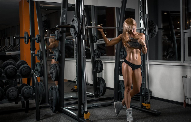 Фото обои girl, model, fitness, gym