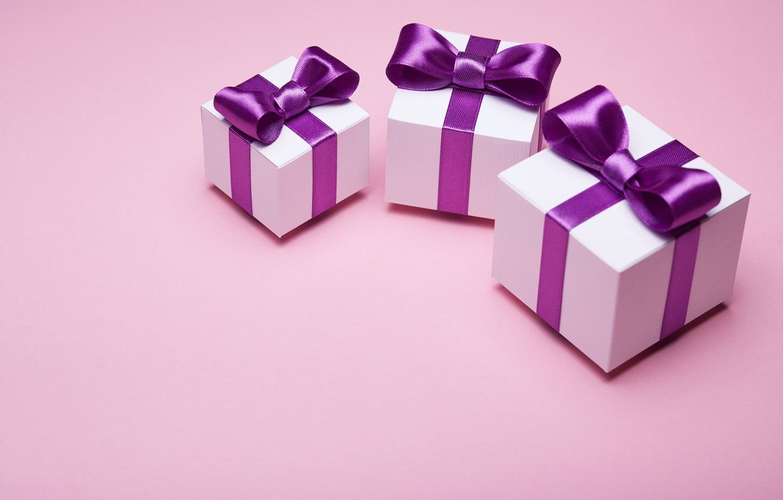 Фото обои подарок, лента, бант, box, pink, present, gift, bow, satin