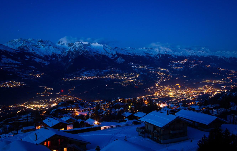 Фото обои зима, снег, горы, ночь, город, огни, швейцария, switzerland, снег звезды, ultra hd, город в горах