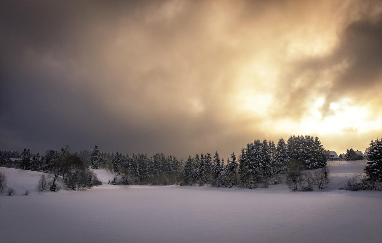 Фото обои зима, небо, снег, закат, природа