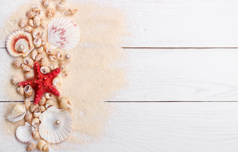 Обои Seashells, sand, Marine, жемчужина, perl, still life, Звезда, starfish, wood, ракушки. Разное foto 7