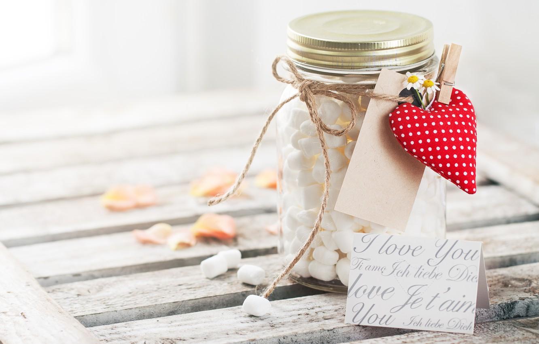 Фото обои праздник, сердечки, красные, сердечко, romantic, valentine's day, баночка, маршмеллоу