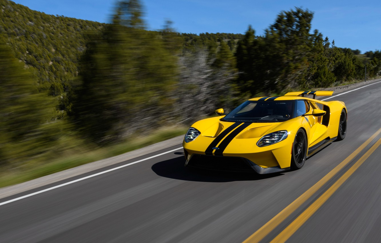 Фото обои car, Ford, Ford GT, yellow, race, speed, fast