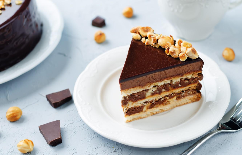 Обои пирожное, орехи, шоколад, крем. Еда foto 6