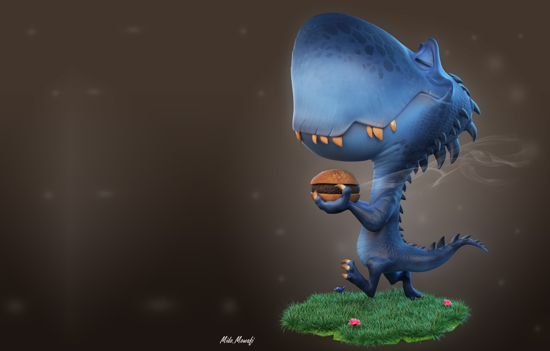 Фото обои арт, булочка, детская, бургер, динозаврик, Mido Mowafi, Burger Time