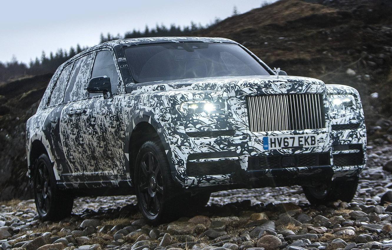 Фото обои Rolls Royce, Nature, Rocks, Camo, Cullinan