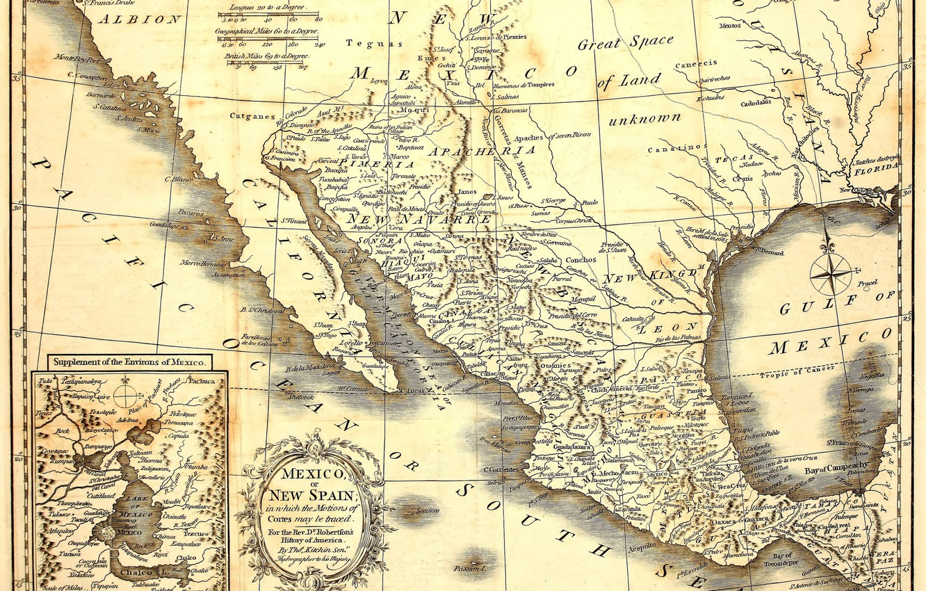 Фото обои Mexico, old, map, paper