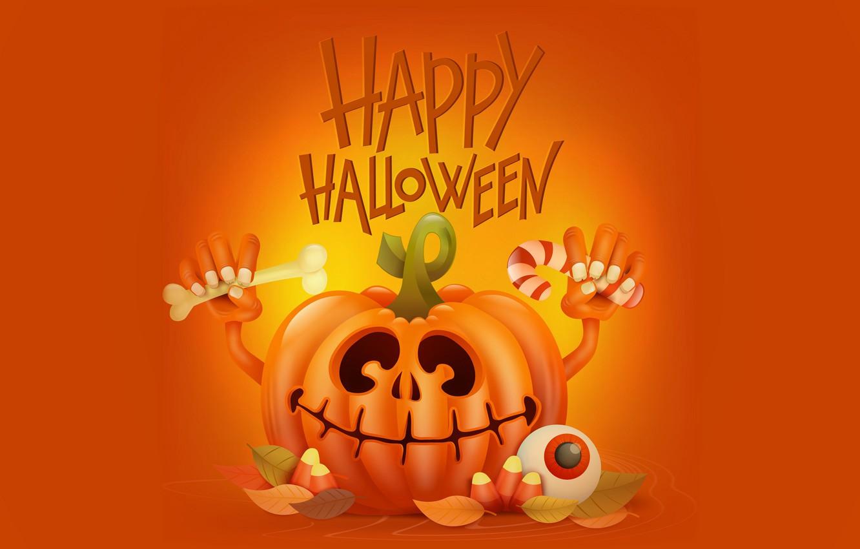 Фото обои улыбка, праздник, руки, тыква, хэллоуин