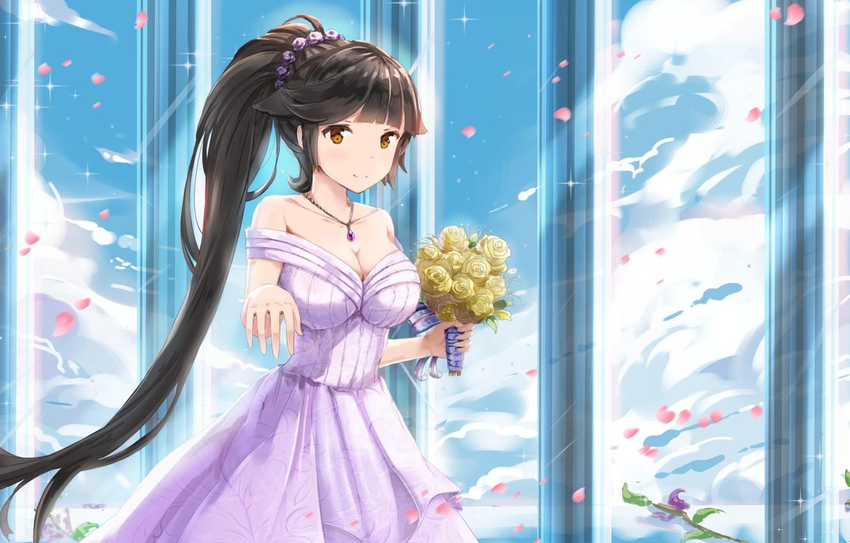 Фото обои girl, flowers, Bilan Hangxian