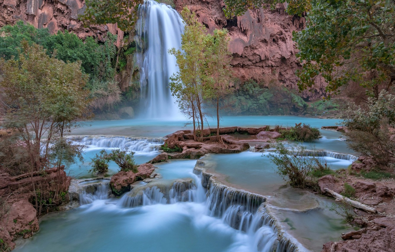 Фото обои водопад, Аризона, Гранд-Каньон, Arizona, Grand Canyon, Havasu Falls