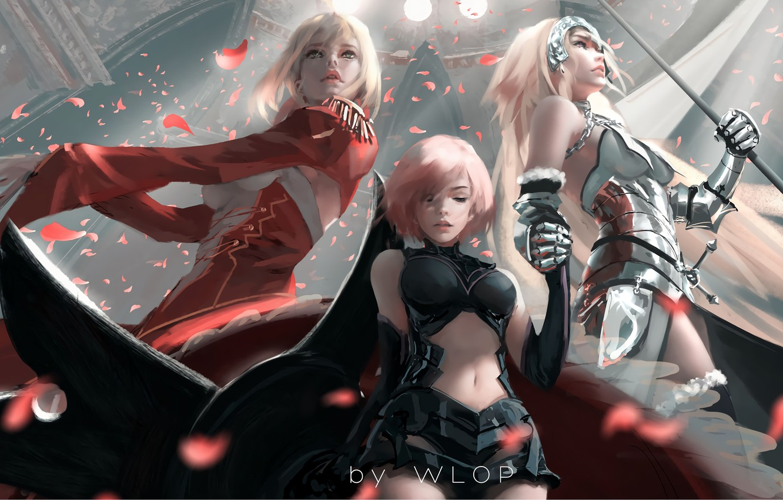 Фото обои armor, girls, anime, art, painting, digital art, petals, artwork, warrior, spear, Fate/Grand Order, WLOP, Jeanne …