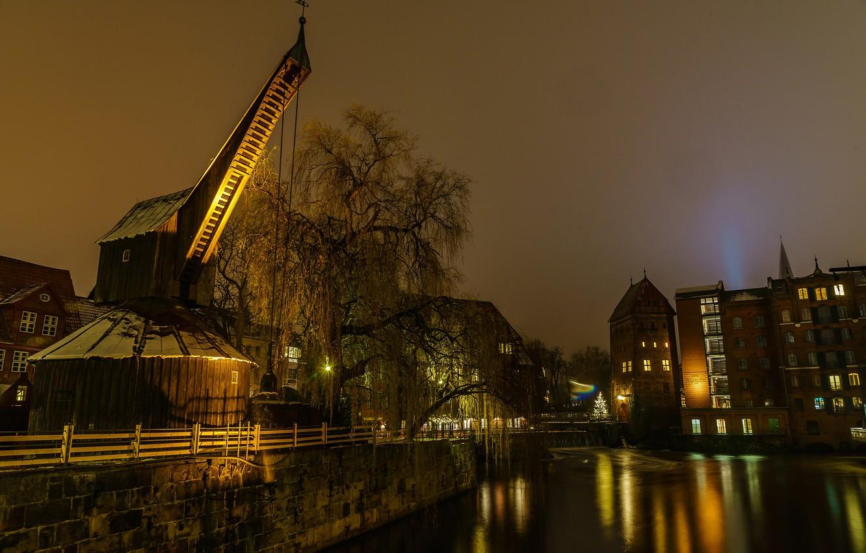 Обои ночь, канал, дома, Luneburgo, фонари, германия, saxony. Города foto 6