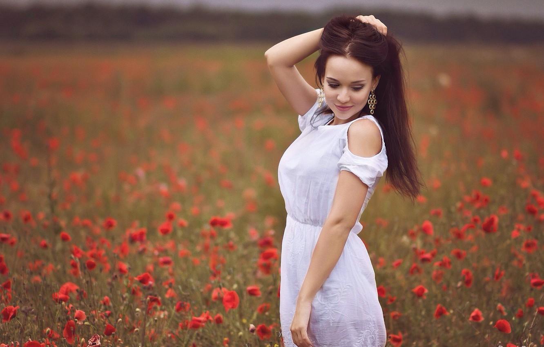 Фото обои лето, цветы, маки, луг, girl, model, Angelina Petrova