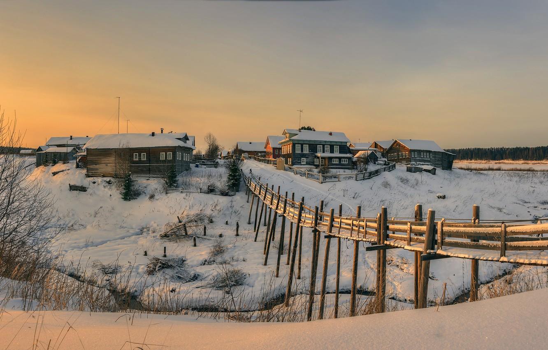Фото обои деревня, Архангельская область, Верхняя Паленьга