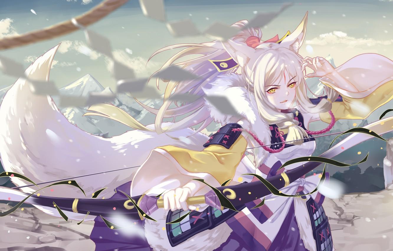 Фото обои взгляд, девушка, поза, оружие, арт, Onmyouji, shan-n