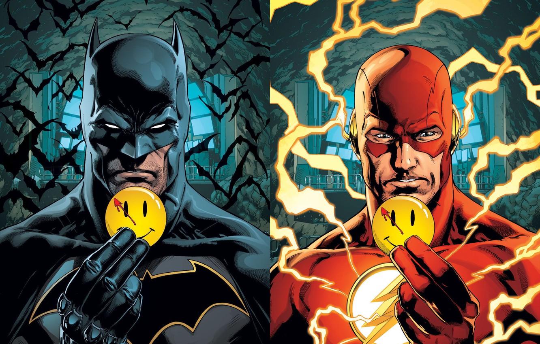 Фото обои batman, молнии, значок, бэтмен, пещера, летучие мыши, смайлик, the flash, DC Comics, флэш