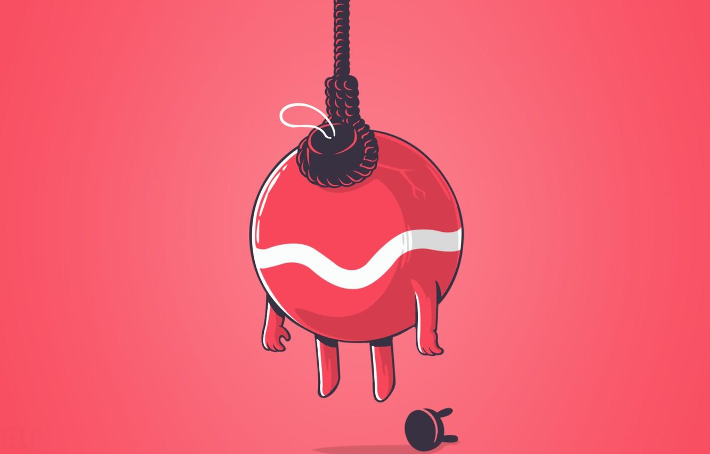 Фото обои новый год, шар, минимализм, веревка, стул, new year, minimalism, chair, ball, rope, новогодняя игрушка, Christmas …