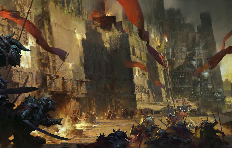Фото обои стены, существа, башни, флаги, крепость, штурм, guild wars 2, нечисть, heart of thorns, Ruan Jia