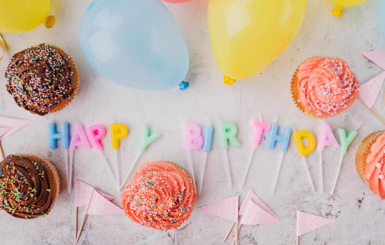 Фото обои праздник, свечи, кексы, день рождение