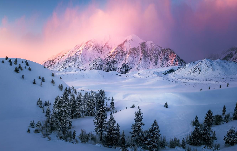 Фото обои зима, облака, свет, снег, горы