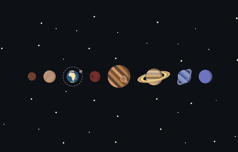 Фото обои космос, звезды, планеты, вектор, солнечная система