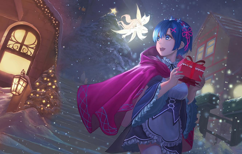 Фото обои девушка, снег, украшения, подарок, звезда, фея, anime, art, новогодняя ёлка, rem, re zero kara hajimeru …