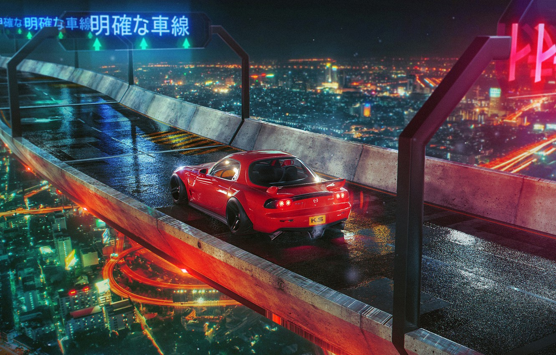 Фото обои ночь, мост, город, огни, red, Mazda, RX 7, Khyzyl Saleem