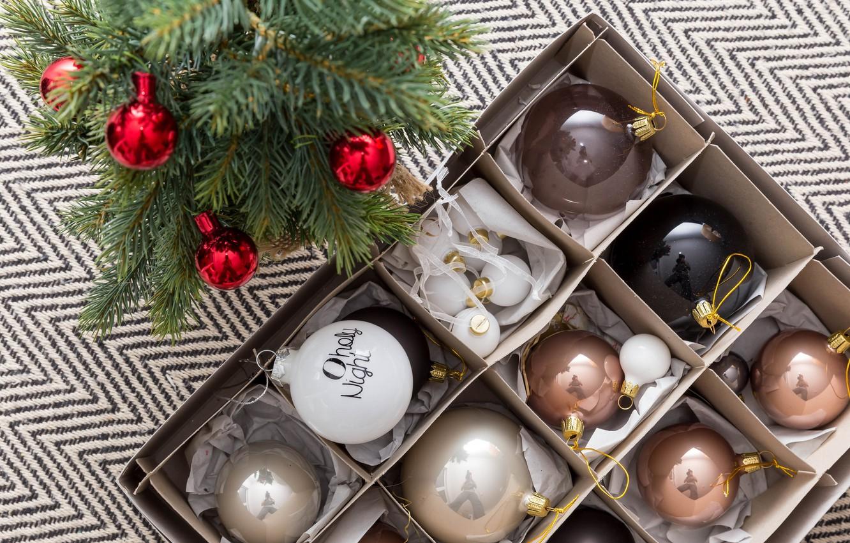 Фото обои праздник, шары, игрушки, новый год, ель, украшение