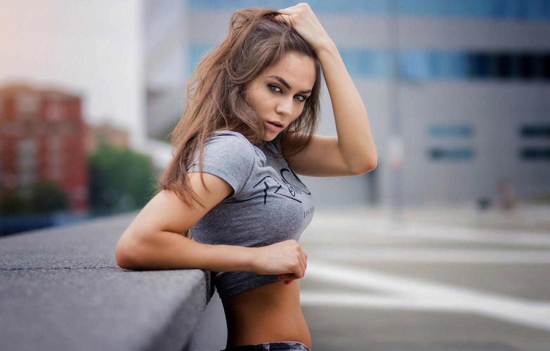 Фото обои city, girl, model, look, grey eyes, Weronika Jezierska, Marco De Santis
