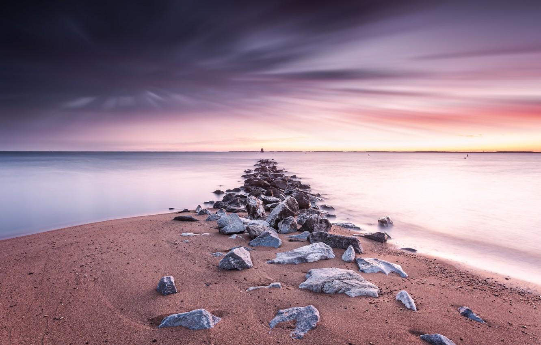 Фото обои море, закат, берег, United States, Maryland, Anne Arundel