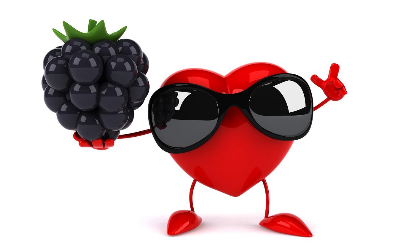 Фото обои сердце, heart, ежевика, funny, rendering