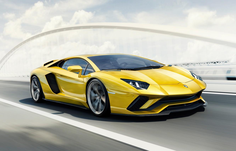 Фото обои Car, Yellow, Super, 2017, Lamborghini Aventador S 4K