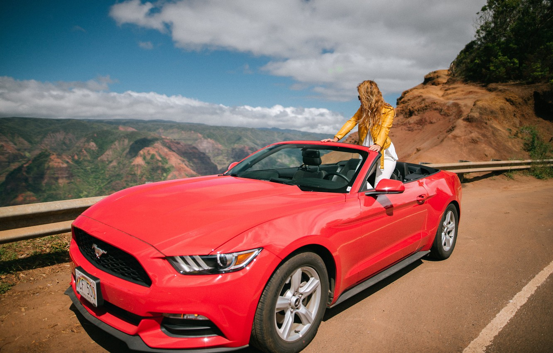 Фото обои дорога, девушка, горы, Mustang, Ford, кабриолет, Ford Mustang