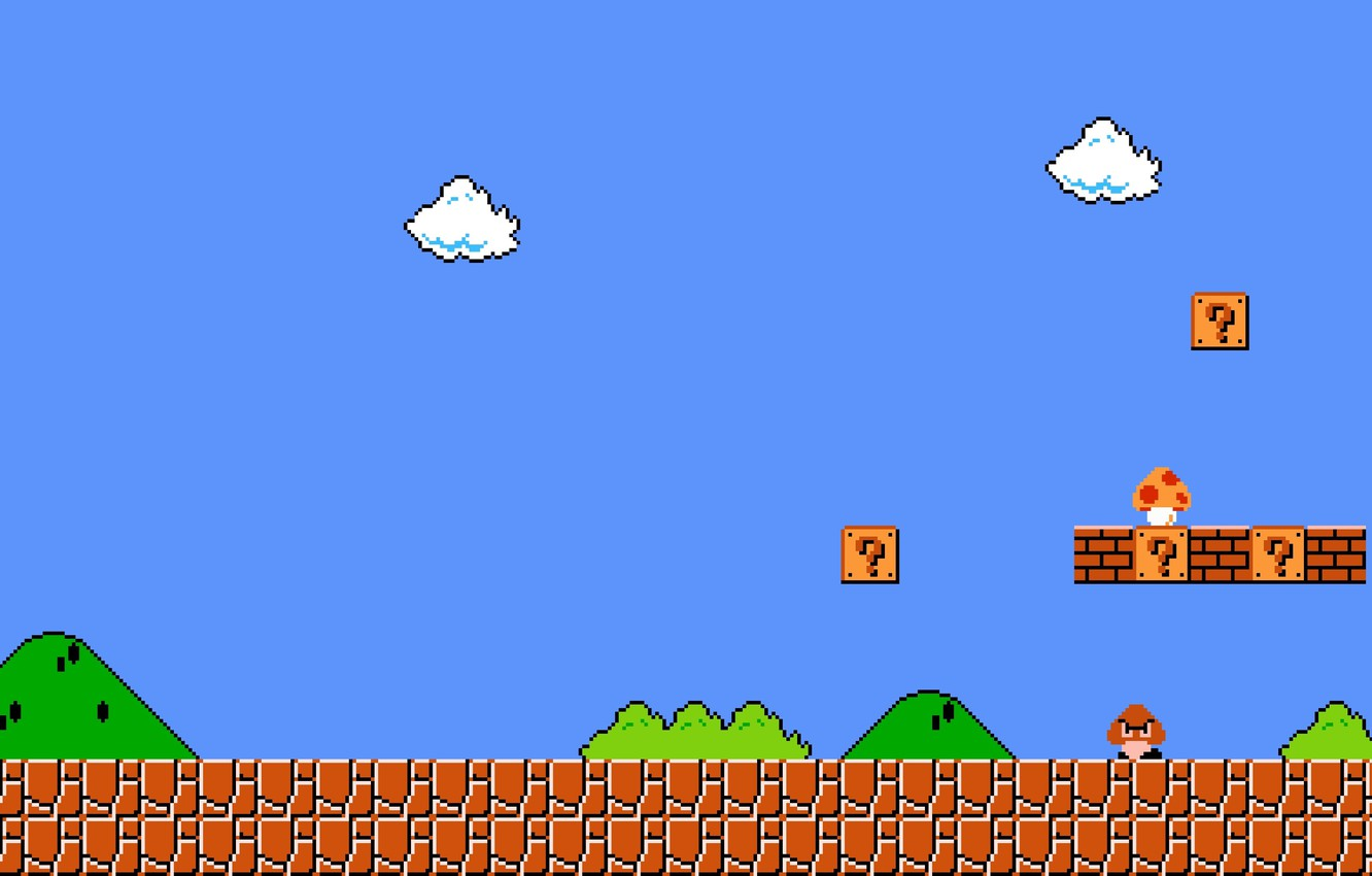 Фото обои cloud, pixels, Super Mario, enemies, fungus, mario bros, first level