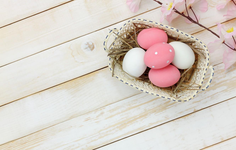 Фото обои цветы, яйца, весна, Пасха, розовые, wood, pink, blossom, flowers, spring, Easter, eggs, decoration, Happy, tender