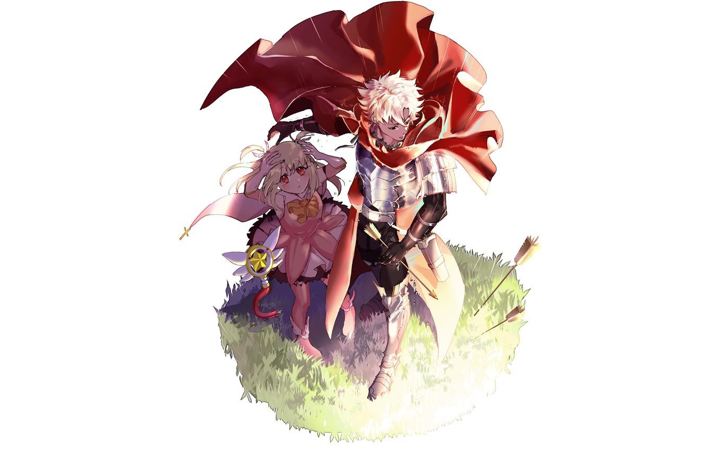 Фото обои аниме, арт, девочка, парень, стрелы, персонажи, защитник, Fate Grand Order