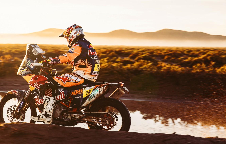Фото обои Спорт, Скорость, Мотоцикл, Гонщик, Мото, KTM, Rally, Dakar, Дакар, Ралли