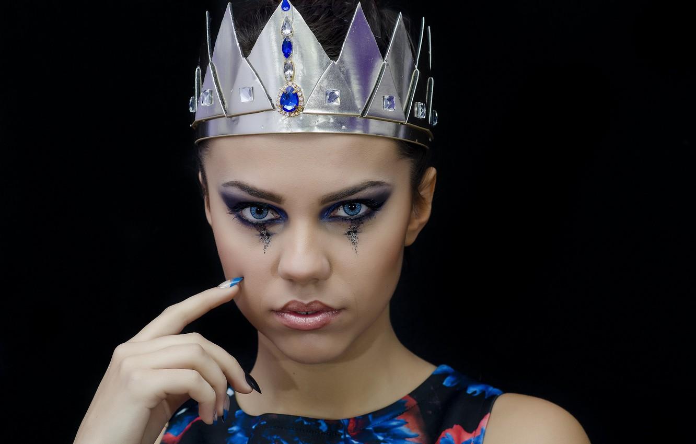 Фото обои девушка, модель, корона, макияж, make up, Anna Maria