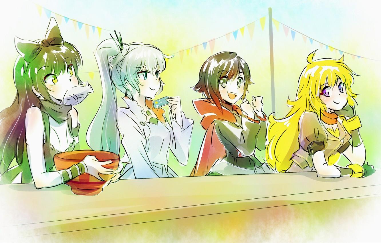 Фото обои белый, радость, желтый, стол, черный, еда, рыба, арт, red, white, black, yellow, Руби, Weiss Schnee, …