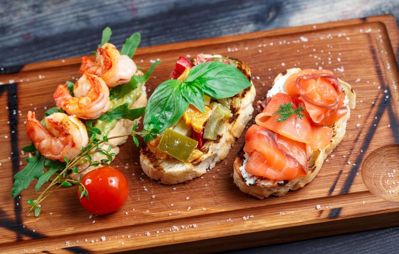 Фото обои зелень, креветки, закуска, лосось, брускетта