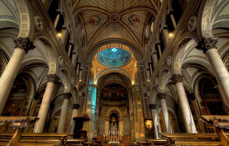 Фото обои церковь, собор, религия, скамья, колонна, неф