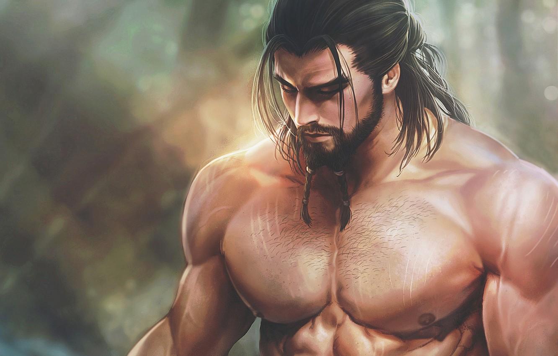 Фото обои грудь, тело, арт, мужчина, борода, мышцы