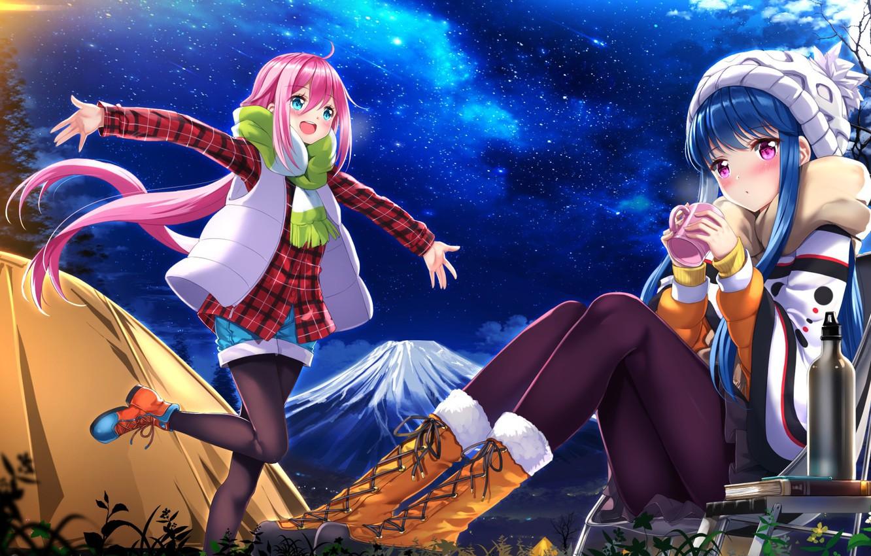 Фото обои природа, аниме, арт, Девочки, Yuru camp